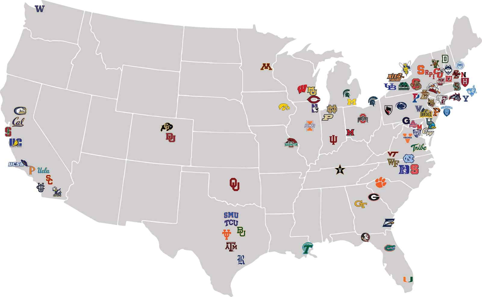 United states map with universities